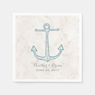 Royal Blue Rustic Anchor Wedding Paper Napkins