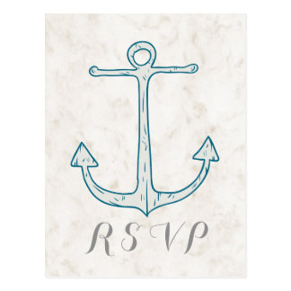 Royal Blue Rustic Anchor Wedding RSVP Postcard
