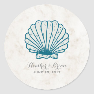 Royal Blue Rustic Seashell Wedding Classic Round Sticker