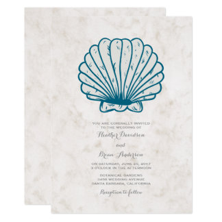 Royal Blue Rustic Seashell Wedding Invite