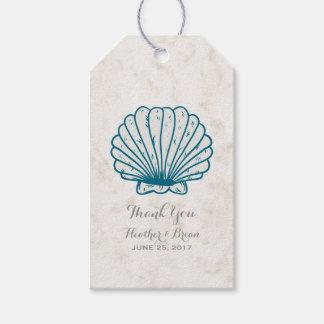 Royal Blue Rustic Seashell Wedding Pack Of Gift Tags