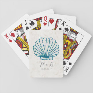 Royal Blue Rustic Seashell Wedding Poker Deck