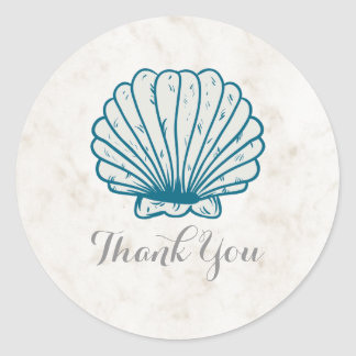 Royal Blue Rustic Seashell Wedding Thank You Classic Round Sticker