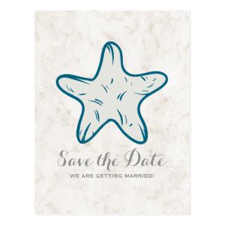 Royal Blue Rustic Starfish Save the Date Postcard
