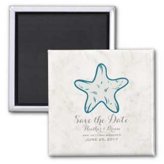 Royal Blue Rustic Starfish Save the Date Square Magnet