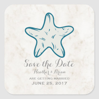 Royal Blue Rustic Starfish Save the Date Square Sticker