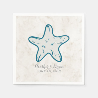 Royal Blue Rustic Starfish Wedding Disposable Napkins