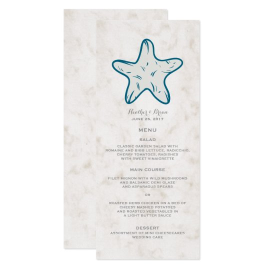 Royal Blue Rustic Starfish Wedding Menu Card