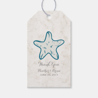 Royal Blue Rustic Starfish Wedding Pack Of Gift Tags