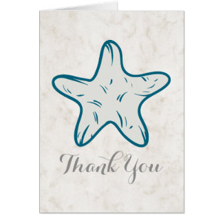 Royal Blue Rustic Starfish Wedding Thank You Card