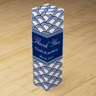 Royal Blue Seigaiha Pattern Wedding Thank You Wine Gift Box