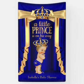 Royal Blue Silk Gold Crown Baby Shower Blonde Banner