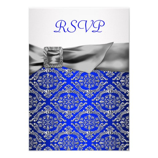 Royal Blue Silver Damask Silver 25th Anniversary Personalized Invites