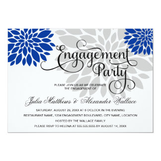 Royal Blue Silver Floral Burst Engagement Party Card