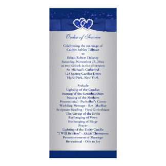 Royal Blue, Silver Floral Hearts Wedding Program Customized Rack Card