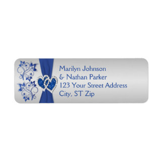Royal Blue, Silver Floral Return Address Labels