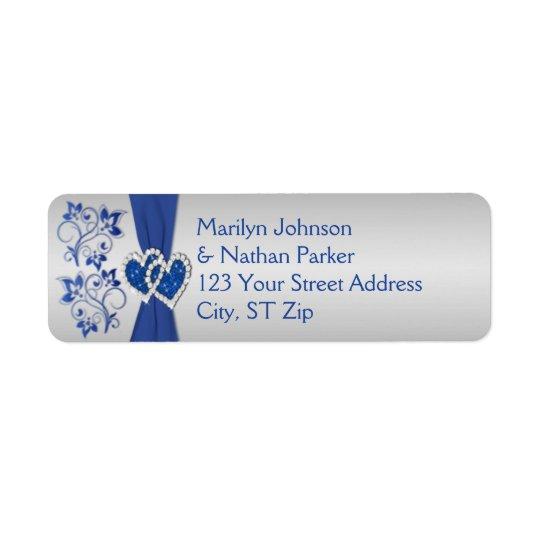 Royal Blue, Silver Floral Return Address Labels