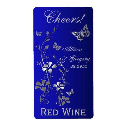 Royal Blue, Silver Floral Wedding Bottle Label