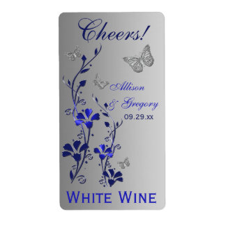 Royal Blue, Silver Floral Wedding Bottle Label 2 Shipping Label