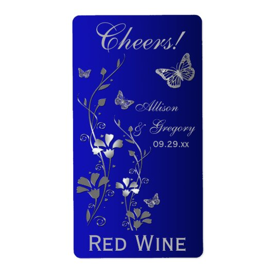Royal Blue, Silver Floral Wedding Bottle Label Shipping Label