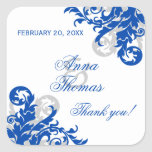 Royal Blue Silver Flourish Wedding Favour Stickers
