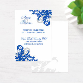 Royal Blue Silver Flourish Wedding Reception Cards