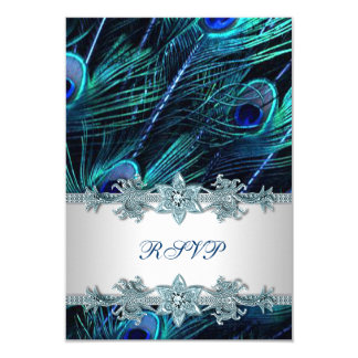 Royal Blue Silver Indian Peacock Wedding RSVP Card