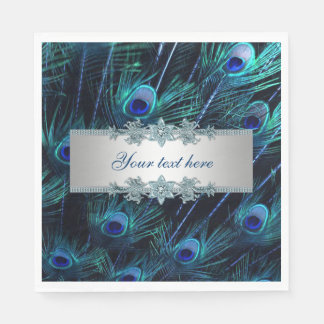 Royal Blue Silver Peacock Paper Napkin