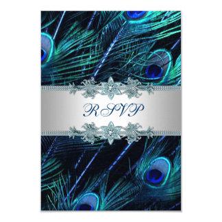 "Royal Blue Silver Peacock Wedding RSVP 3.5"" X 5"" Invitation Card"