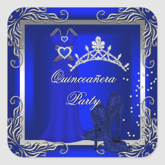 Royal Blue Silver Quinceanera Blue High Heel Shoes Square Sticker