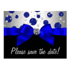 Royal Blue Silver Save The Date Postcard