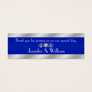 Royal Blue & Silver Tone Custom Wedding Favor Tags Mini Business Card