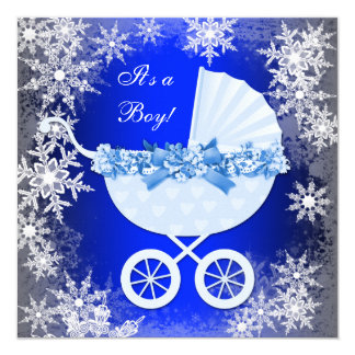 "Royal Blue Snowflake Winter Wonderland Baby Shower 5.25"" Square Invitation Card"