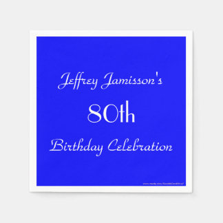 Royal Blue Solid 80th Birthday Party Paper Paper Napkins