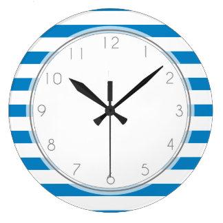 Royal Blue Stripes Pattern Large Clock