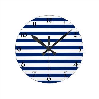 Royal Blue Stripes Pattern Round Clock