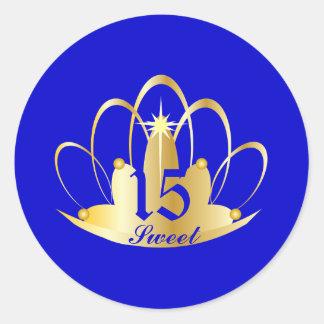 Royal Blue Sweet 15 Tiara Sticker-Customize Round Sticker