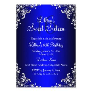 "Royal Blue Sweet 16 Silver Pearl Damask 5"" X 7"" Invitation Card"