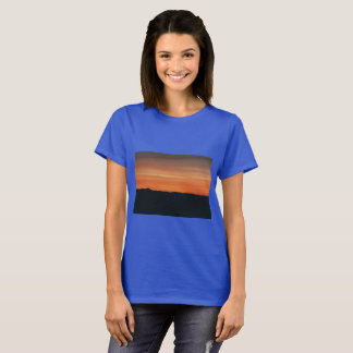 Royal Blue T-shirt with Sunset Design
