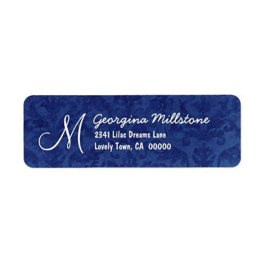 ROYAL BLUE Textured Monogram M Address Label