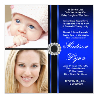 Royal Blue Then and Now Photo Graduation Card