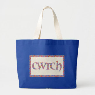 Royal Blue Tote Bag, Welsh Floral Cwtch Slogan,