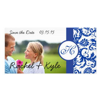 Royal Blue Vintage Modern Damask Save the Date Personalized Photo Card