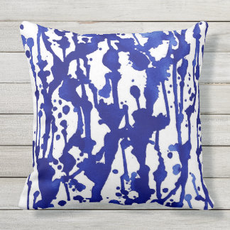 Royal Blue Watercolor Abstract Throw Pillow