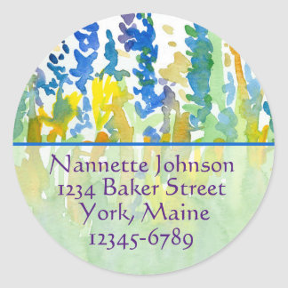 Royal Blue Watercolor Flowers Return Address Classic Round Sticker
