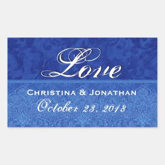 Royal Blue Wedding Love Damask and Ribbon Sticker