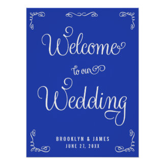 Royal Blue Wedding Reception Sign With Swirls Poster