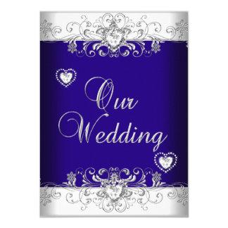 "Royal Blue Wedding Silver Diamond Hearts 2 4.5"" X 6.25"" Invitation Card"