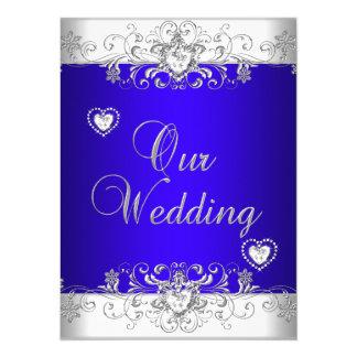 Royal blue Wedding Silver Diamond Hearts 5.5x7.5 Paper Invitation Card