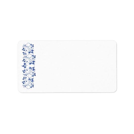 Royal Blue White Address Label - Blank